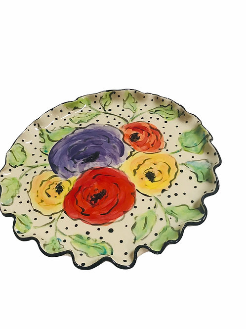 Round Platter with Flowers