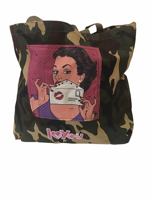 Camo Tote With Patches -Kiss