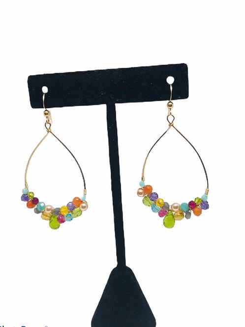 Multi Gem Cluster Hoop Earrings