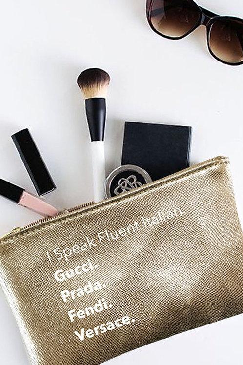 """I Speak Fluent Italian"" Gold Pouch"