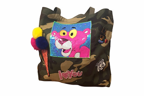 Camo Tote With Patches -Pink Panther
