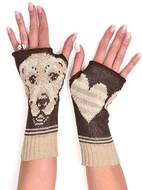 Women's Recycled Cotton Hand Warmer Fingerless Gloves -Golden