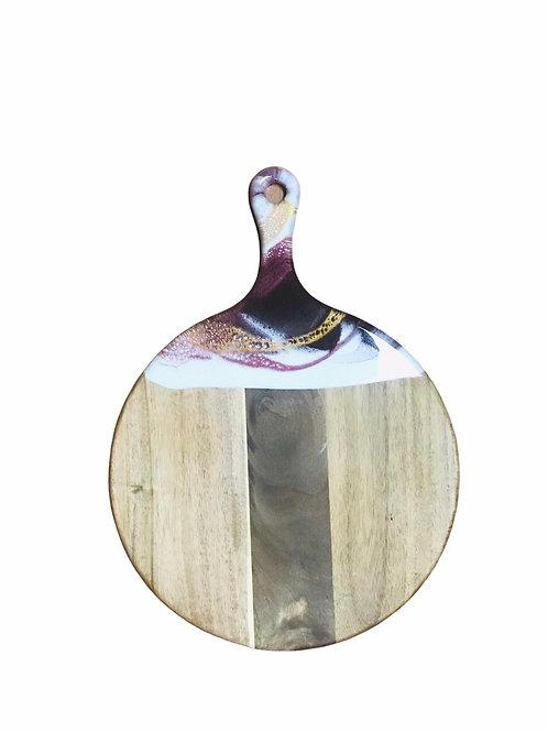 Round Cheeseboard -Raspberry, Gold & White