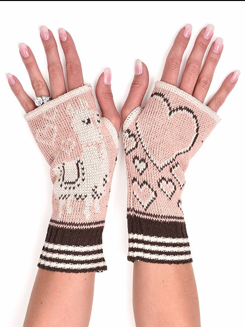 Women's Recycled Cotton Hand Warmer Fingerless Gloves - Llama