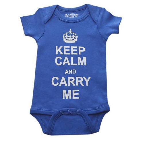 Keep Calm And Carry Me Blue Onesie