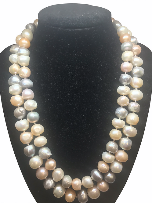 Double Strand Bam Bam Pearl Necklace