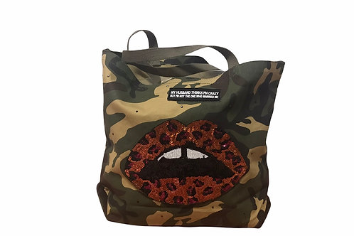 Camo Tote With Patches -Lips