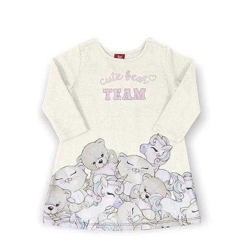 Cute Bear Team Cream Dress