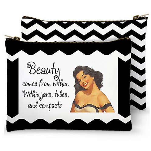 Zippered Bag - Beauty comes from within. Within jars, tubes, and compacts