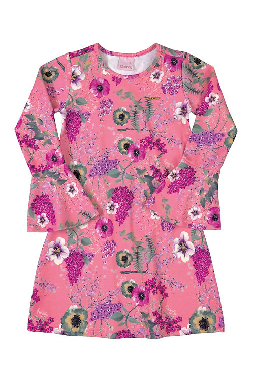 Pink Floral Dress with Bell Sleeve