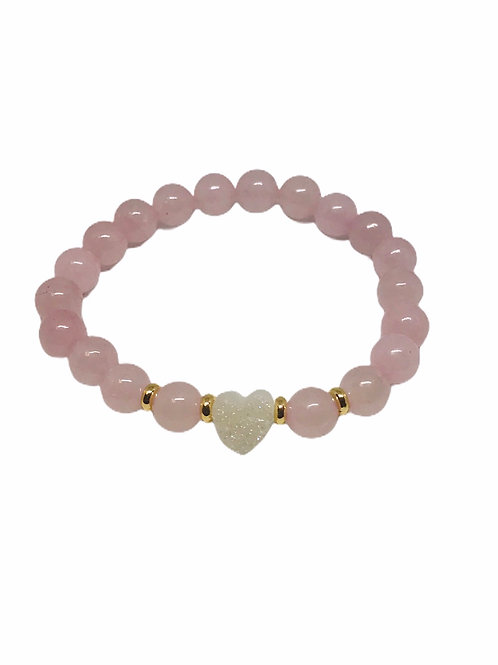 White Heart With Pink Jade Bracelet