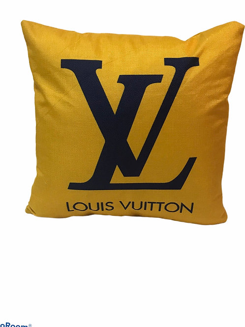 Yellow  With Blue  LV Pillow