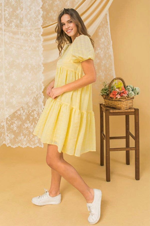 Yellow Textured Woven Dress