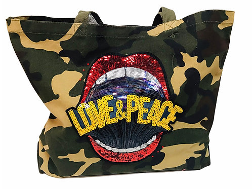 Camo Tote With Patches -Love & Peace