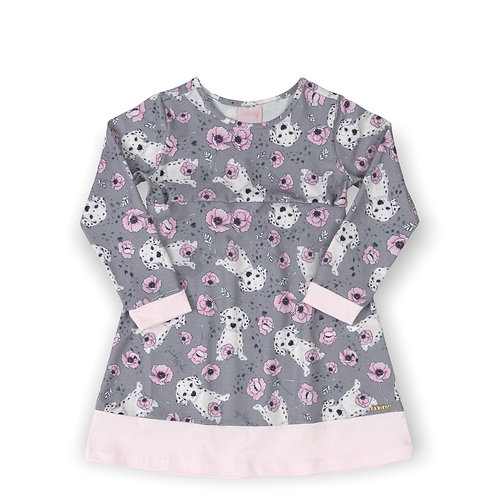Grey Dog and Flowers Dress