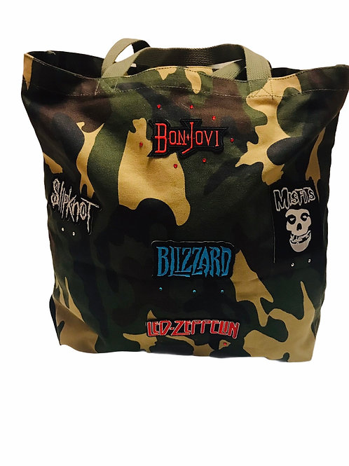 Camo Tote With Patches - Rock Bands