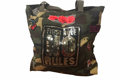 Camo Tote With Patches -First Rule No Rules