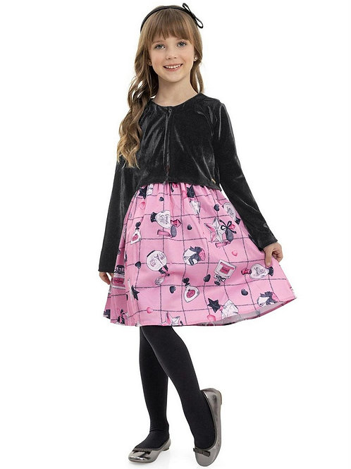 Pink Perfume Pattern Dress with Jacket