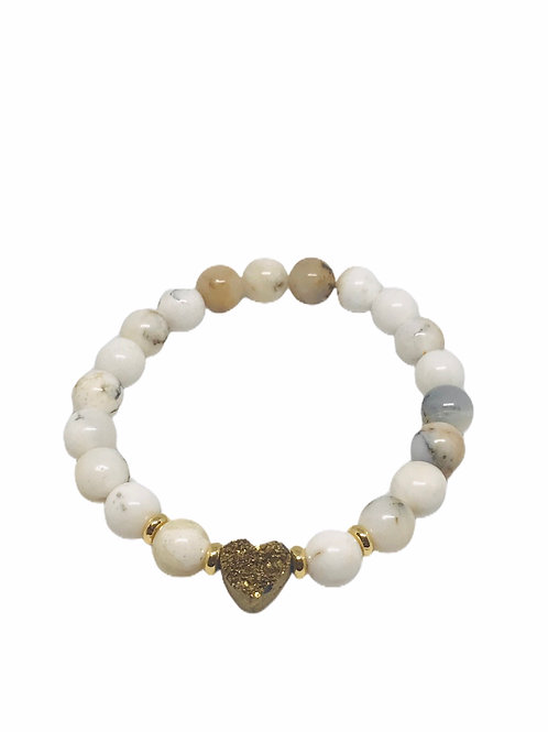 Gold Druzy Heart With Opal Beading Bracelet
