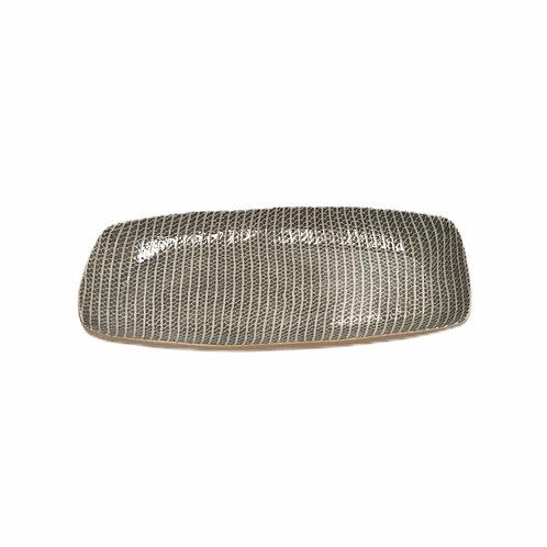 Small Oblong Platter In Charcoal