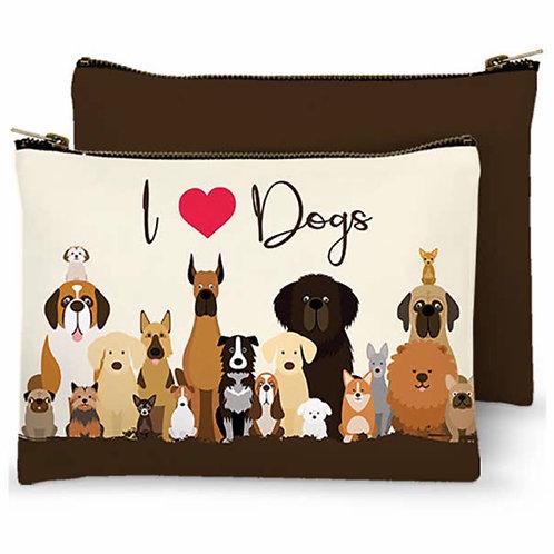 Zippered Bag - I Heart Dogs