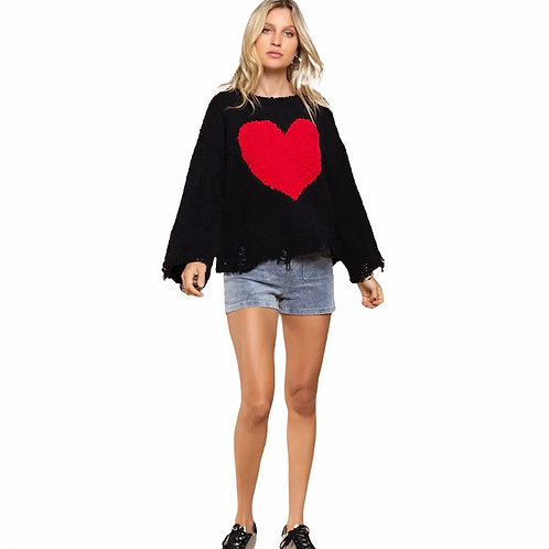 Black Sweater With Red Heart