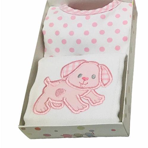 Pink Dog Burp Cloth & Bib