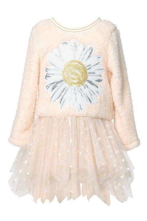 Long Sleeve Sherpa Dress W/ Mesh Skirt and Daisy Trim Detail