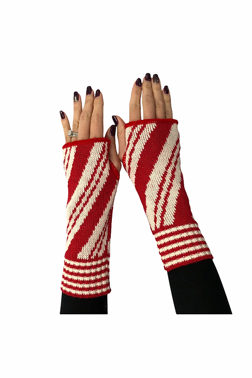 Fingerless Gloves Red Candy Cane
