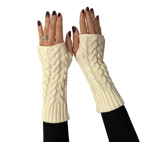 Fingerless Gloves Cable Ivory