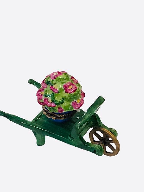 Green Wheelbarrow With Flower Pot Limoges Box