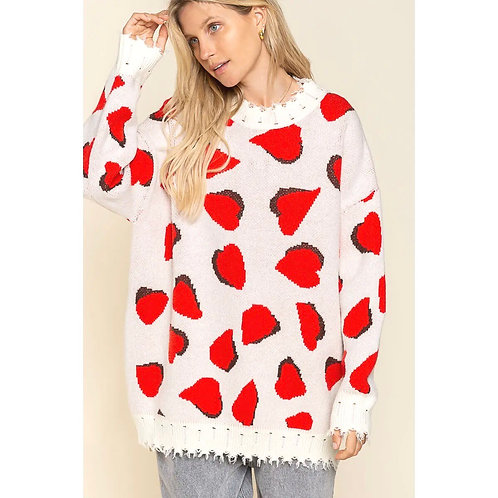 Ivory & Red Multi Sweater