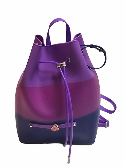 Purple Backpack With Bracelet And Charm