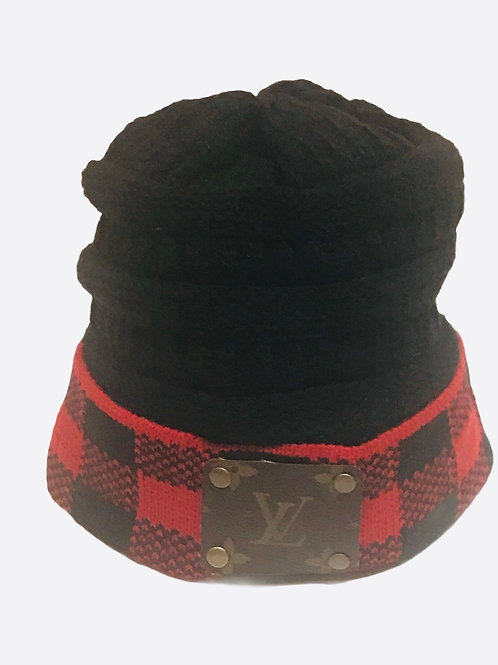 Black and Red Plaid LV Repurposed Patch
