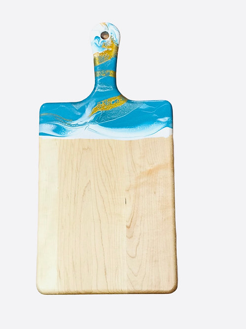 Large Resin Cheeseboard- Teal, White and Gold