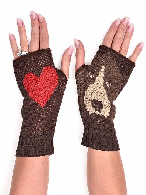 Women's Recycled Cotton Hand Warmer Fingerless Gloves -Basset Hound