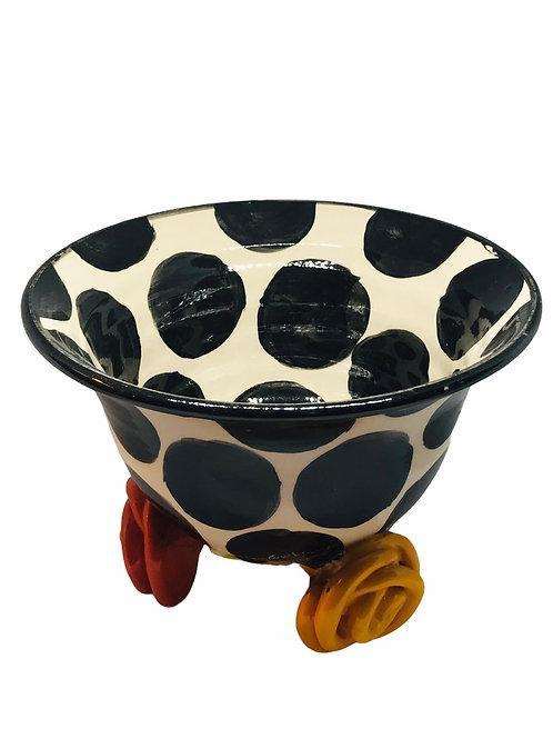 Polka Dot Bowl With Rose Feet