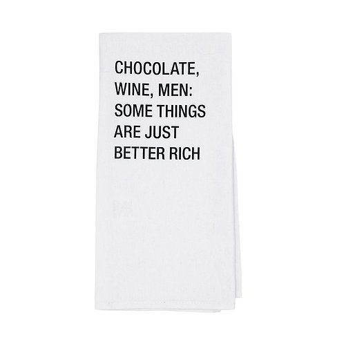 Chocolate, Wine, Men: Dish Towel