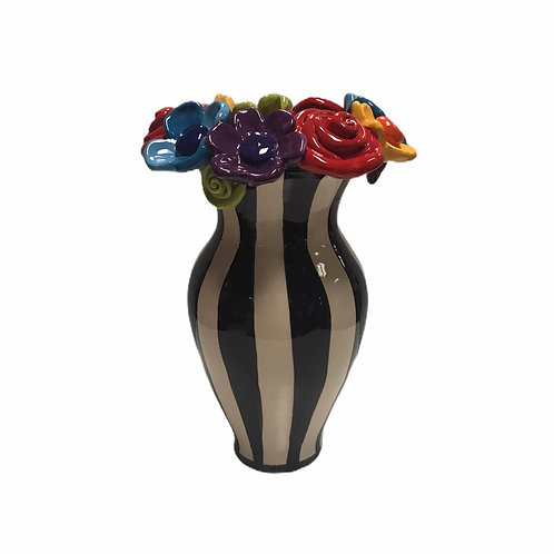 Large Stripe Vase With Multi Encrusted Flowers