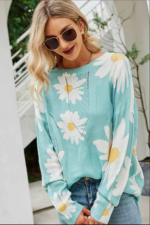 Ready For Fresh Air Floral Print Sweater