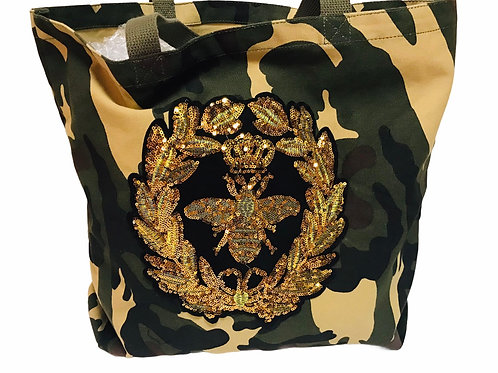 Camo Tote With Patches -Bee