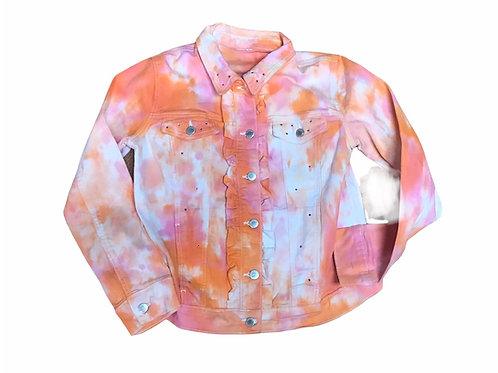 Peach and Pink Tie Dye Denim Jacket