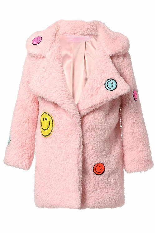 Sherpa Coat W/ Happy Face Patch Detail