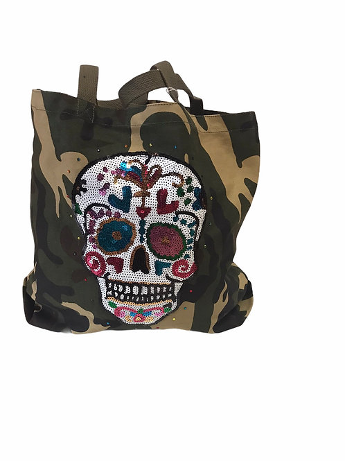 Camo Tote With Patches- Skull