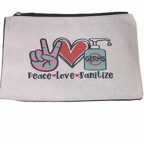 """""""Peace Love Sanitize"""" Pouch"""