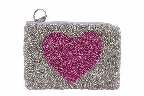 Pink  Heart Beaded Purse