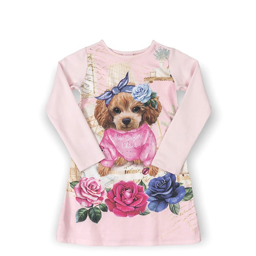 Pink Dress with Dog