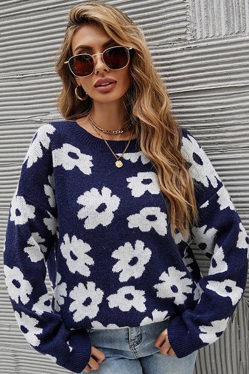 Blue Flower Sweater