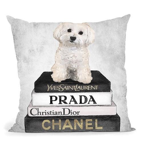 Maltese Puppy On Books Pillow