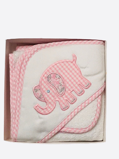 Pink Elephant Hooded Towel and Washcloth